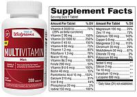Walgreens, Комплекс витаминов и минералов, Витаминный комплекс с минералами Men для мужчин, 200 таблеток
