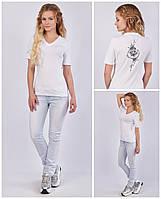 Женская футболка с V - образным вырезом (мысик), авторский принт - лотос M