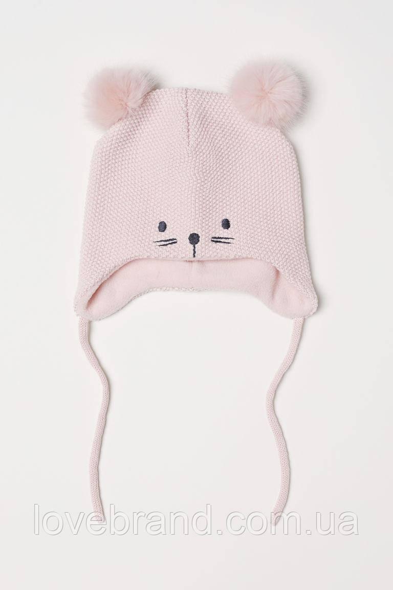 Тёплая шапочка для девочки H&M на флиссе розового цвета