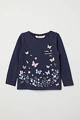 """Тонкий реглан для девочки """"бабочки"""" H&M синий 4-6 л./110-116 см"""