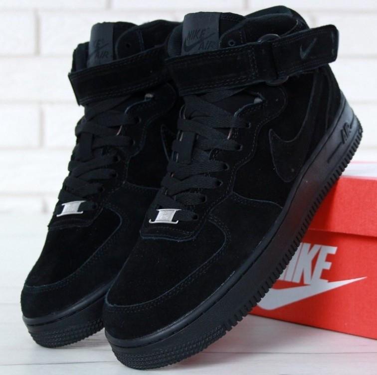 "Зимние мужские кроссовки Nike Air Force 1 Mid ""Black"" c мехом, nike air force high"