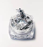 Жатая фольга для ногтей в баночке серебро