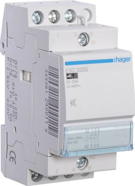 Контактор Hager 25A 3НО 24В бесшумный ESD325S