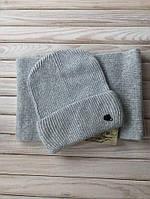 Шерстяной комплект шапка с шарфом, женская шапка вязаная из ангоры с шерстяным, теплым шарфом