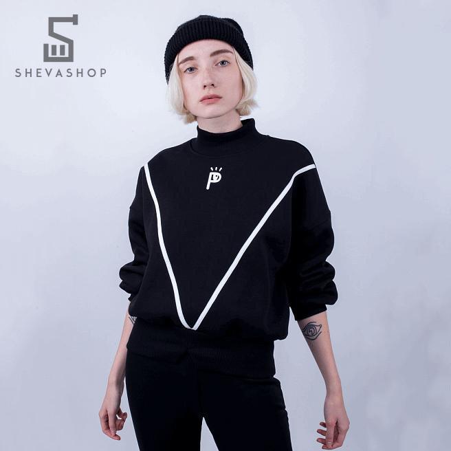 Теплый женский свитшот Paradigma - Phosphorus Logo черный, фото 1