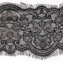 Кружево с ресничками.Французское кружево Одесса.Кружево ажурное шантильи 30 метров моток чёрный, фото 3