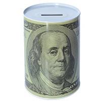 """Скарбничка-бляшана банку """"100 доларів"""""""