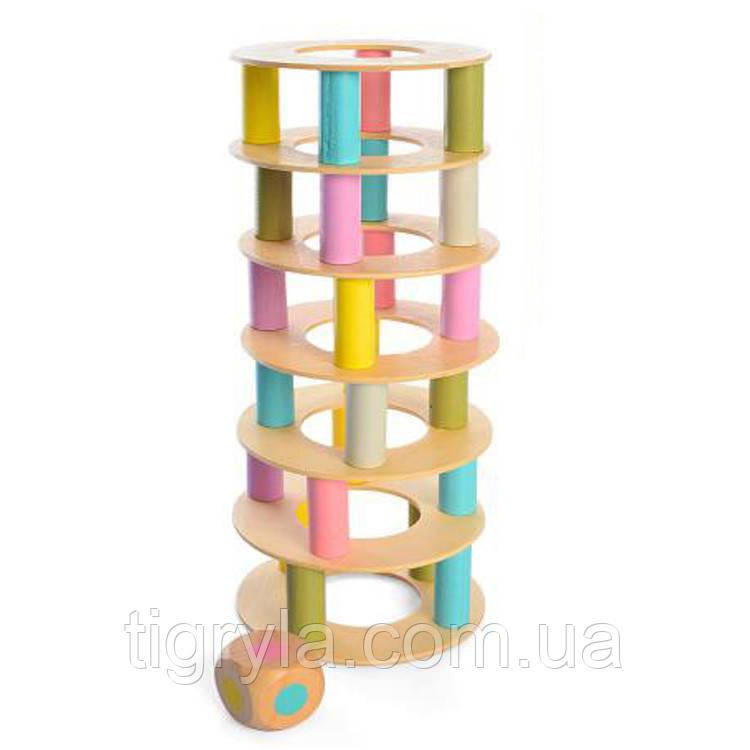 Башня  деревянная игрушка с кольцами, аналог дженга