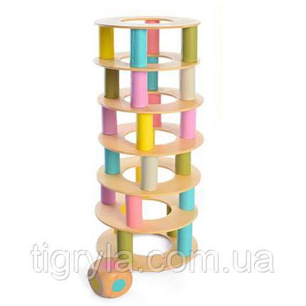 Башня  деревянная игрушка с кольцами, аналог дженга, фото 2