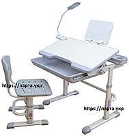 Парта трансформер и стул, настольная лампа, подставка для книг, серый, фото 1