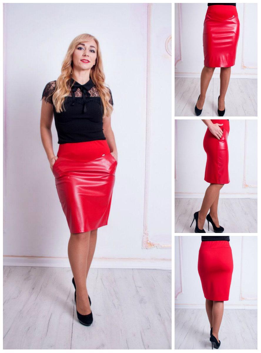 6091609fc619 Женская модная юбка-карандаш из эко-кожи Рита красная. 44-52: продажа, цена  в ...