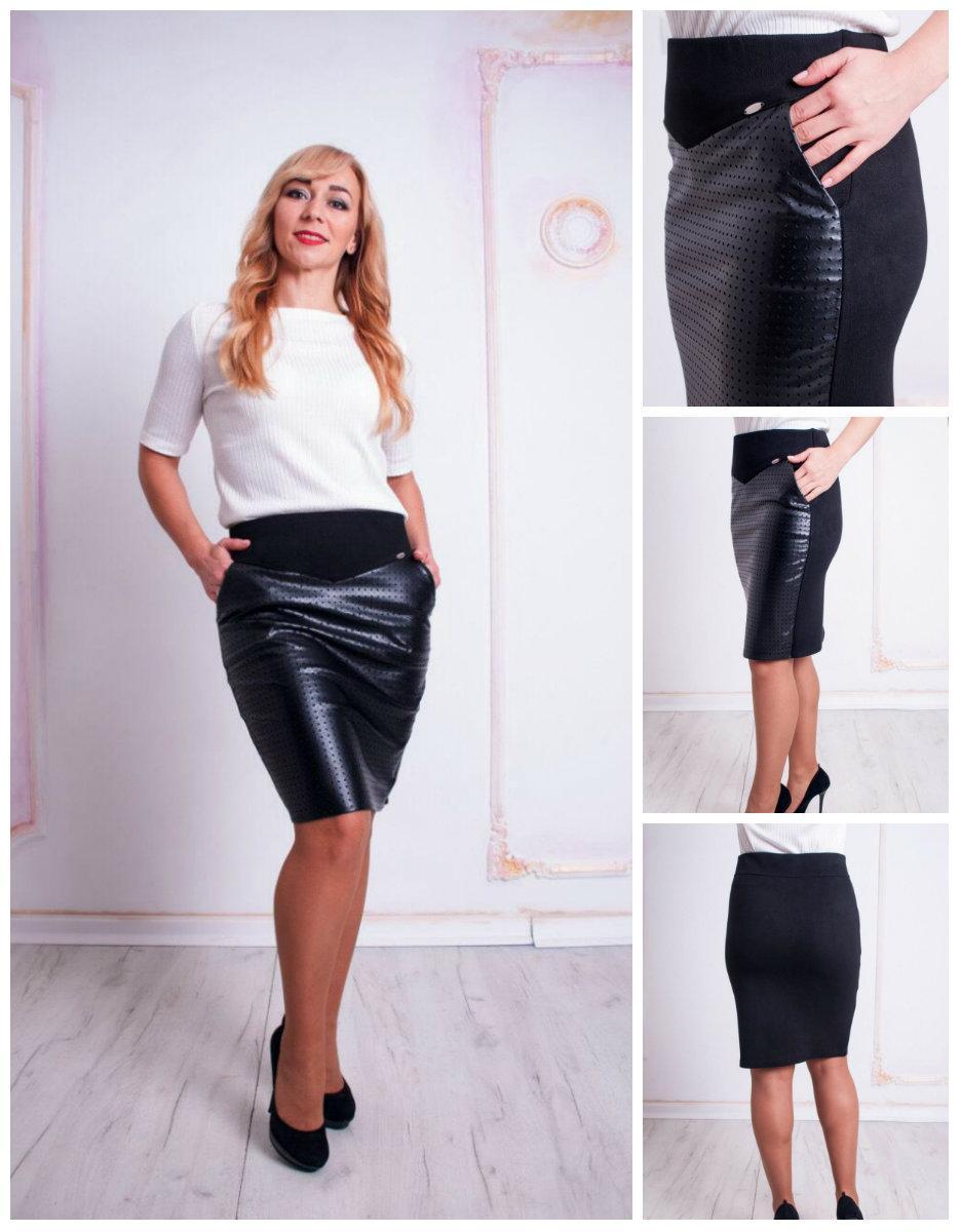 Женская модная юбка-карандаш из эко-кожи Рита черная. 44,46