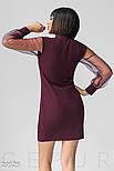 Приталену сукню бордового кольору з прозорими рукавами в горошок, фото 3