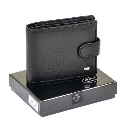 Чоловічий гаманець Dr. Bond RFID з натуральної шкіри. Шкіряне портмоне чорний, фото 2