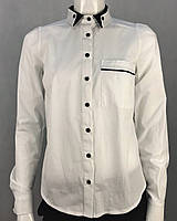 Рубашка женская белая стильная классическая с длинным рукавом на пуговицах