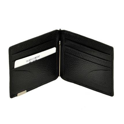 Чоловічий гаманець з затиском з натуральної шкіри Bretton. Шкіряний гаманець - затиск Чорний, фото 2