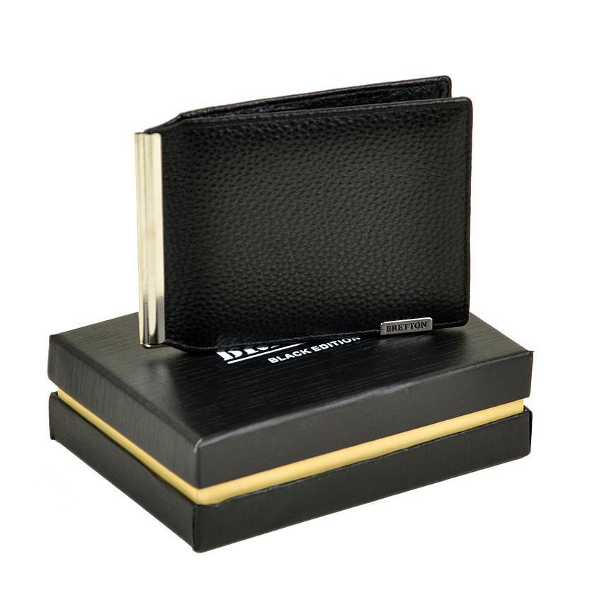 Чоловічий гаманець з затиском з натуральної шкіри Bretton. Шкіряний гаманець - затиск Чорний
