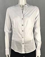 Рубашка женская белая на пуговицах с длинным рукавом воротник полустойка