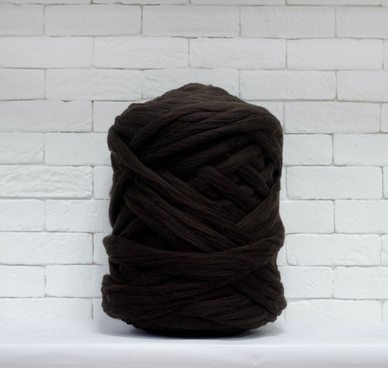 Толстая, крупная пряжа 100% шерсть 1кг (40м). 26 мкрн. Цвет: Кофе. Топс. Лента для пледов