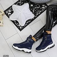 Синие ботинки женские в спортивном стиле зимние р. 37, 38. 39, фото 1