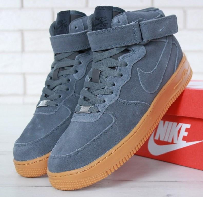 """Зимние мужские кроссовки Nike Air Force 1 High """"Grey"""" c мехом"""
