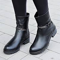 Женские зимние ботинки полусапожки кожаные черные прошитая мягкая резиновая подошва (Код: Б1313а)