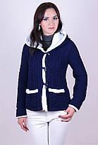 Теплый вязаный жакет с большим удобным капюшоном  размер 44-50, фото 2