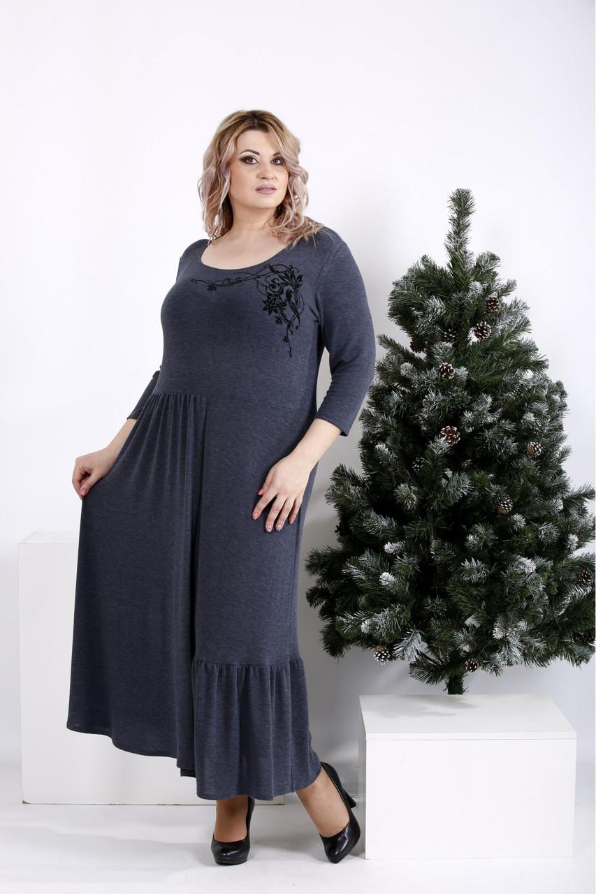 6842d2ccb3515 Свободное платье для полных женщин 01003 джинс (54-74), цена 710 грн ...