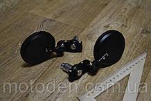 Дзеркала універсальні в ретро стилі круглі (чорні металеві) складаються D=80мм, винос-125мм