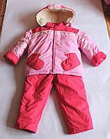 """Зимний костюм-полукомбинезон для девочки """"Варежка"""" Розовый + коралловый р. 98"""