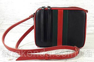 61-гуч Натуральная кожа Сумка женская черная кросс-боди кожаная сумочка cross-body кожаная в цветах Gucci, фото 2