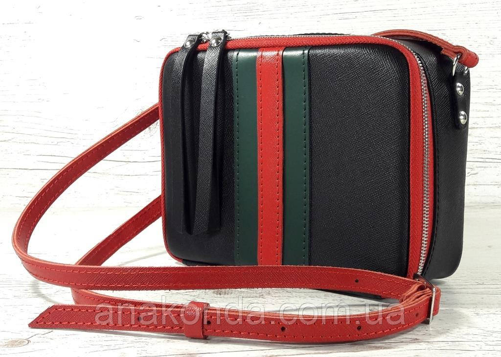 61-гуч Натуральная кожа Сумка женская черная кросс-боди кожаная сумочка cross-body кожаная в цветах Gucci