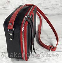 61-гуч Натуральная кожа Сумка женская черная кросс-боди кожаная сумочка cross-body кожаная в цветах Gucci, фото 3