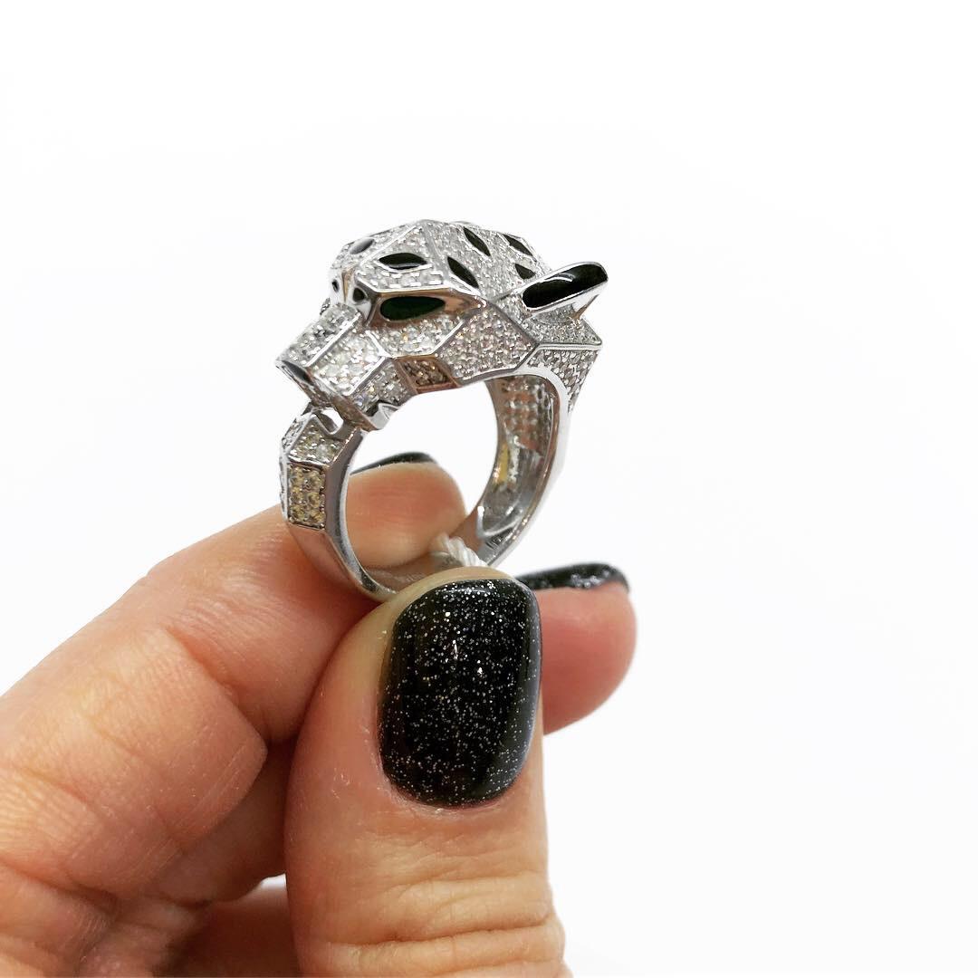Кольцо из серебра 925 Мої прикраси в стиле Cartier модель пантера