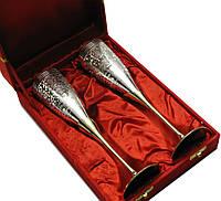 Бокалы бронзовые с серебряным напылением в вельветовой коробке