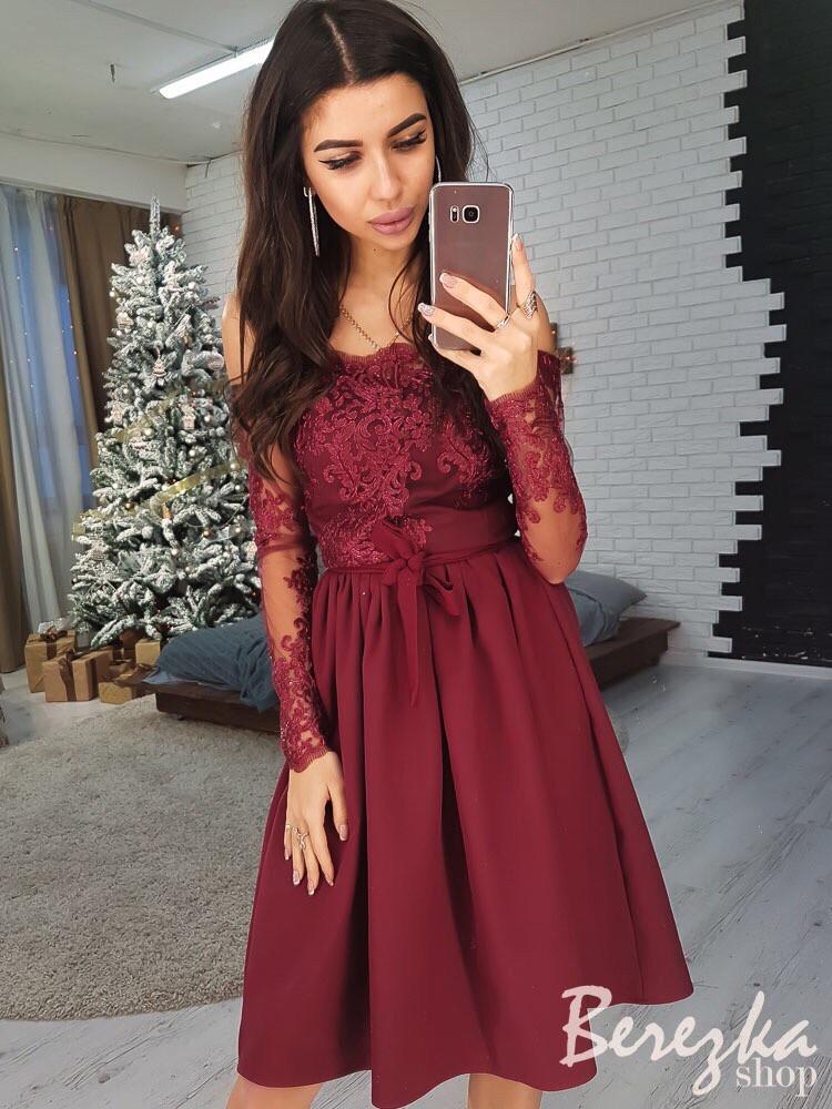 Платье модное миди кружевной верх с открытыми плечами и пышная юбка Smb2939 d58da2ba043