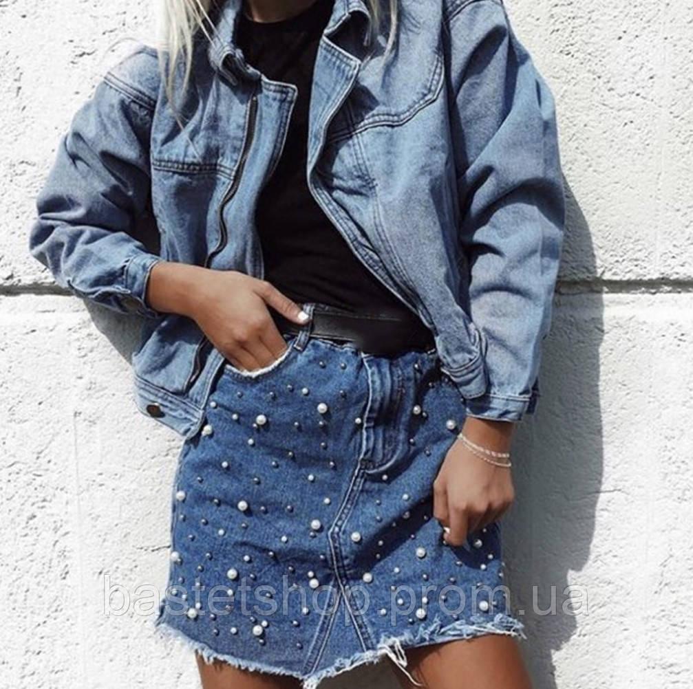 7fff901ffcf Женская джинсовая юбка с жемчужинами - купить по лучшей цене в ...