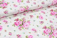 Ткань сатин Розы розовые, фото 1