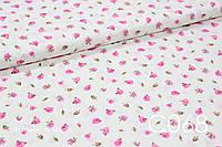 Ткань сатин Розы розовые мелкие