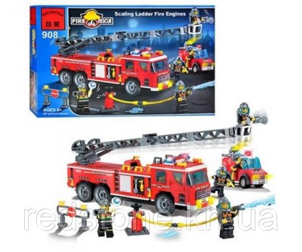 """Конструктор Brick 908 """"Пожежна техніка"""" 607 деталей"""