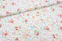 Ткань сатин Цветы персиковые, фото 1