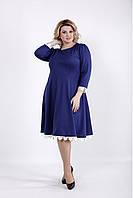 8d8915cb156 Платье больших размеров ниже колена 01032 синее (54-74)