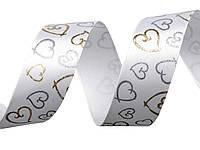 Лента атласная с сердечками белая (S), фото 1