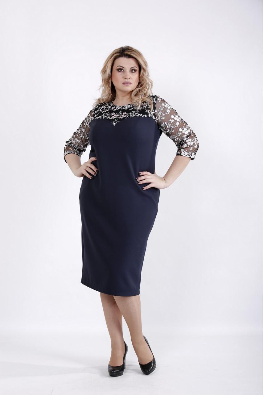 12d92012aa714 Нарядное платье для полных женщин 01037 синее (54-74), цена 970 грн ...