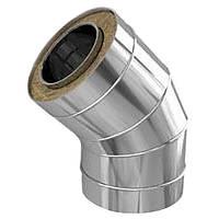 Отвод 45*нерж. 0,5/0,5 мм,диаметр 125/220 мм. дымоход с теплоизоляцией