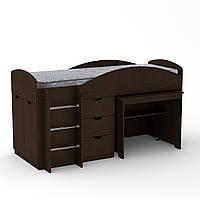 Кровать чердак Универсал Компанит Венге