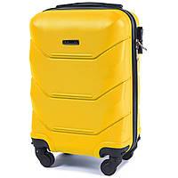 Микро пластиковый чемодан Wings 147 на 4 колесах желтый