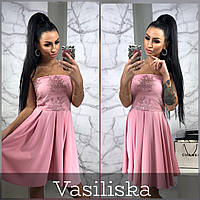 Платье миди нежное красивое кружевной верх с открытыми плечами и пышная юбка Smv2942, фото 1