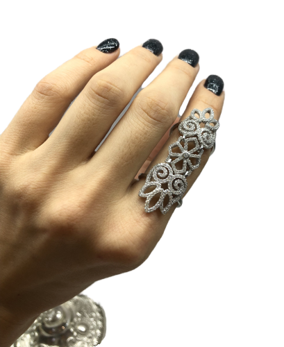 Перстень на весь палец из серебра 925 J Well Silver с цирконами