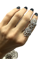 Перстень на весь палец из серебра 925 J Well Silver с цирконами, фото 1